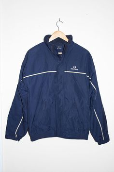 Fred Perry Polyester Winter Jacket Men Retro Style Fashion Designer Size S Navy