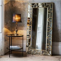 Make a statement in your home with the beautiful rectangular Verbier leaner mirror in a painted gold finish. Ideal for use anywhere throughout the home, this mirror will effortlessly create the impression of light and space. Floor Standing Mirror, Floor Mirror, Mirror With Mirror Frame, Wall Mirror Ideas, Ornate Mirror, Oval Mirror, Spiegel Design, Wal Art, Mosaics