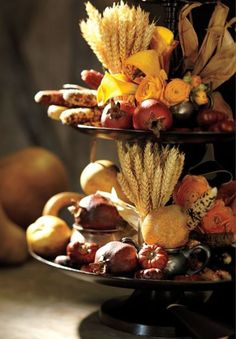 Harvest decorated tiered plate stand--cute for Thanksgiving!