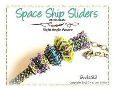 Beaded Slider Beads Beading Tutorial SPACE SHIPS by Studio183, $4.00