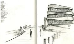 Last drawing of 2014 for draweling album. One of the most famous architectural pieces of Stuttgart Mercedes-Benz Museum designed by UN Studio   Stuttgart, Germany   2014