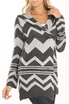 Patterned Wrap Hooded Sweater