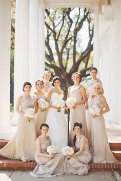 ♡ #Beige #wedding #Bridesmaids ... For wedding ideas, plus how to organise an entire wedding, within any budget ... https://itunes.apple.com/us/app/the-gold-wedding-planner/id498112599?ls=1=8 ♥ THE GOLD WEDDING PLANNER iPhone App ♥  For more wedding inspiration http://pinterest.com/groomsandbrides/boards/ photo pinned with love & light, to help you plan your wedding easily ♡
