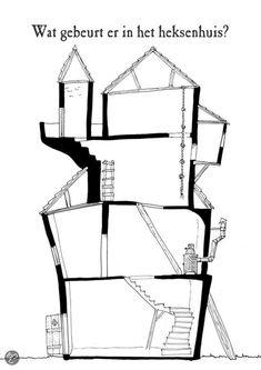Ontwerp je eigen huis met woorden als bouwen, de schoorsteen, verbeteren, de muur, kloppen, het kozijn en de voordeur.