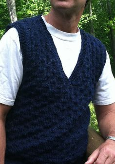 Free Knitting Pattern for Par Vest for Him - Classic V-necked textured vest. Sizes 37-52″ chest. Pictured project by YaYaHenry