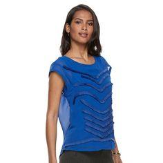 Women's Dana Buchman Fringe Chiffon Top, Size: Medium, Blue
