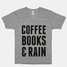 Coffee Books & Rain (Vintage) | HUMAN | T-Shirts, Tanks, Sweatshirts and Hoodies
