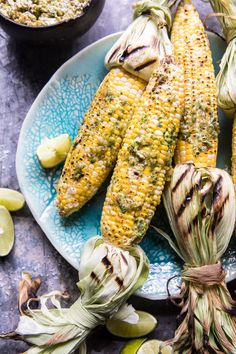 Mexican Grilled Corn with Green Chile Honey Butter - A little spicy, but also a little sweet, this butter makes the corn beyond good! @ halfbakedharvest.com