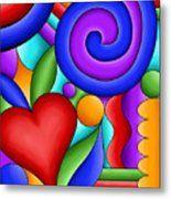 Heart And Swirl Metal Print