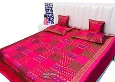 PURE SILK INDIAN BROCADE JAIPURI PATCHWORK BED SHEET CUSHION PILLOW COUCH COVER