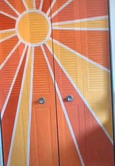 Painted Bedroom Doors, Closet Doors Painted, Painted Doors, Cute Room Ideas, Cute Room Decor, Wallpaper Door, Sun Painting, Room Ideas Bedroom, Room Paint