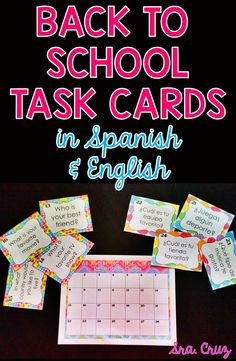 Get to Know You Task Cards in Spanish and English These task cards are a great way to get to know your students at the beginning of the school year. This set contains 28 get-to-know you questions in English (for beginner level I or other subject) and in Spanish. https://www.teacherspayteachers.com/Product/Get-to-Know-You-Task-Cards-in-Spanish-and-English-1885407