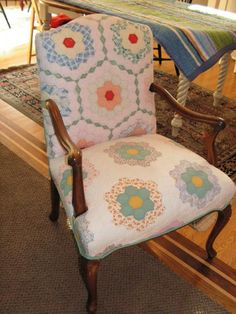 chair covered with quilt