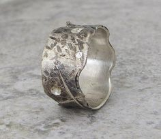 Silver Wedding Band Hammered Wedding Ring by SilverSmack on Etsy, $106.00