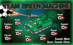 Machine-Green-Team-45599  digitally printed vinyl soccer sports team banner. Made in the USA and shipped fast by BannersUSA. www.bannersusa.com