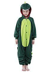 Kigurumi+Pijamas+New+Cosplay®+/+Dinossauro+Malha+Collant/Pijama+Macacão+Festival/Celebração+Pijamas+Animal+Verde+Miscelânea+Lã+Polar+–+BRL+R$+138,51