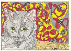 ACEO Cat Abstract by Theodora by THEODORADESIGNS on Etsy #pcfteam