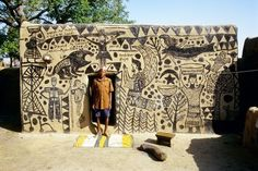 Traditional Kassena house. This is the work of the Kassena people of Burkina Faso in West Africa. The building itself is made from sun-dried clay, soil, gravel, maceration liquid and cow manure; the process is similar to that for making pottery.