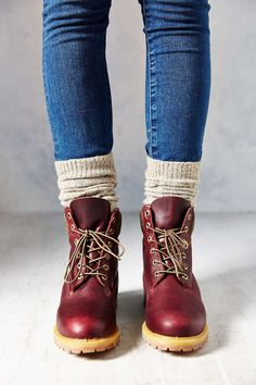 maroon bean boots and beige socks