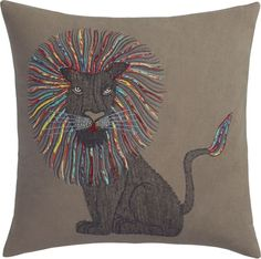 "<span class=""copyHeader"">mane attraction.</span> Meet the new king of your couch. Intricate embroidery stitches a regal silhouette on dark grey cotton. The lion's mane and tail are accented by a patchwork of sari remnants upcycled from local Indian textile mills. Dual-sided design flips to solid teal back. Do the math: CB2 low prices include a pillow insert in your choice of plush feather-down or lofty down-alternative (a rare thing indeed).<br /><br /><NEWTAG/><ul><li>Front and back: 100%…"