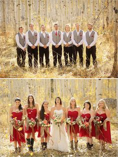 Wedding Party Looks: Bridesmaids in red dresses and groomsmans in gray vests with red accents.