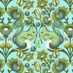 This fabric looks both cool and creepy: Tula Pink - The Birds and the Bees - Squirrel in Pool