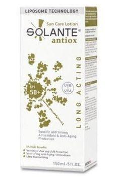 Güneşe karşı sahip olduğu güçlü ve geniş filtrelerle cilde koruyan,güneşin neden olduğu yaşlılık belirtilerine karşı anti age özellik gösteren #Solante #Antiox SPF 50+ 150 ml Anti-Aging #Etkili #Güneş #Koruyucu #Losyonu ürününü kullanabilirsiniz.Diğer ürünler için www.portakalrengi.com adresini ziyaret edebilir detaylı bilgi edinebilirsiniz.