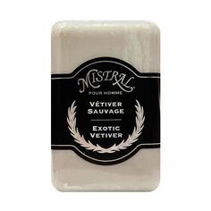 Mistral Exotic Vetiver Soap - Rich, earthy vetiver blends efffortlessly with smoldering cedarwood, juicy Italian bergamot, cooling lavender, subtle, soft notes of musk and camphoric clove. A classically masculine scent with the powerful toning effects of grape leaf extracts, anti-irritant and anti-bacterial properties.Grapeseed oil nourishes skin, is rich in antioxidant polyphenols, and is triple-milled for endurance.