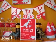 Printable dinosaur party package  by sassyphotocreations on Etsy, $36.00