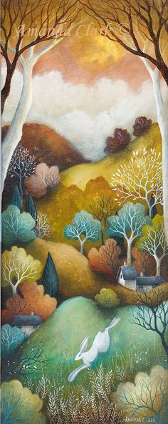 The beautiful artwork by an English artist Amanda Clark. Landscape paintings reminiscent of fairy tales and jewel like colours of the countryside. Principe William Y Kate, Tree Drawings Pencil, Clark Art, Naive Art, Whimsical Art, Surreal Art, Illustration Art, Illustrations, Painting & Drawing