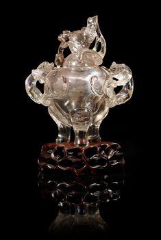 A rock crystal tripod censer, Qing dynasty.