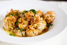 Baked Shrimp Scampi--I wonder how it would be to sub out almost all the butter with olive oil...it's good in white clam sauce!