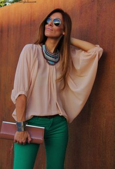 jeans green and blush top