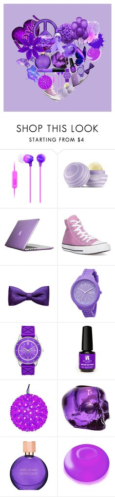 """#purple love"" by aholmes1 ❤ liked on Polyvore featuring Sony, Eos, Speck, Converse, ZuZu Kim, Rip Curl, Red Carpet Manicure, NARS Cosmetics, Kosta Boda and Estée Lauder"