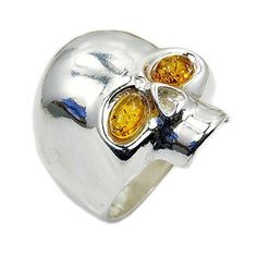 Sterling Silver Natural Baltic Amber Skull Ring, Size 6.25