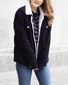 A Little Detail - Corduroy Jacket // Navy Striped Sweater // Blue Skinny Jeans // #brandymelville #winterfashion #corduroyjacket #shearlingjacket #stripedsweater #truckerjacket #skinnyjeans #garageclothing