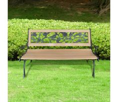 Metal Garden Bench Wood Backrest Iron Frame Patio Seat Outdoor Traditional Yard