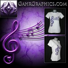 Women's t-shirt design created by GahrGraphics.com featuring music notes with hearts.  This design is printed on Vapor Apparel using dye sublimation.