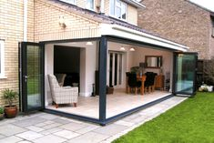 2 bi-fold doors on a corner of an extension