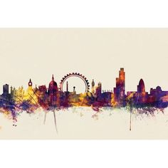 """East Urban Home Skyline Series: London, England, United Kingdom II by Michael Tompsett Graphic Art on Wrapped Canvas in Beige Size: 12"""" H x 18"""" W x..."""