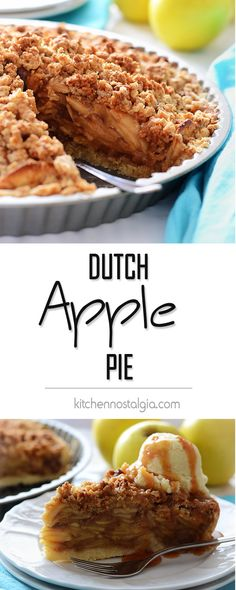 Dutch Apple Pie recipe with single pie crust, rich filling of apples and spices topped with crunchy and flavorful crumb topping - kitchennostalgia.com