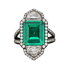 Colombian 4.69 carat Emerald and Diamond Ring | From a unique collection of vintage cocktail rings at https://www.1stdibs.com/jewelry/rings/cocktail-rings/