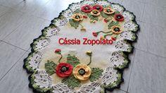 Tapete Papoula Feito em barbante barroco e flores e folhas com linha Anne Medida 1,04 x 0,65 cm