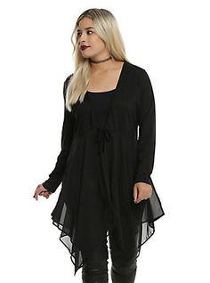 Black Tie Front Girls Drape Cardigan Plus Size, BLACK