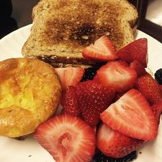 So this is my breakfast - all clean - homemade mini Mexican quiche fresh strawberries & blackberries and organic sprouted grain toast.  I warm everything up in my office kitchen & between the kitchen everyday no less than 5 people comment on how good healthy other great compliments my breakfast looks. I always say - you too can have this breakfast if you choose.  #selfcare #lifecoaching