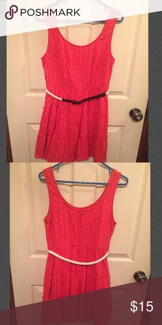 Coral sundress with belt Coral sundress from kohls with waist belt. It says 9 on the tag but it's from the juniors department so it fits like a medium. Dresses