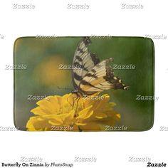 Butterfly On Zinnia Bath Mat