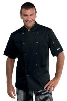 61f9543b1f1e Veste de cuisine noire manches courtes et boutons pression