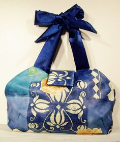 Blue Handbag with Yellow Roses by TrampLeeDesigns on Etsy, $31.00