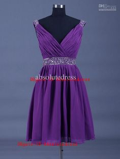 Wholesale Party Dress - Buy Short Chiffon V-neckline Beading Evening Dresses, $102.27 | DHgate